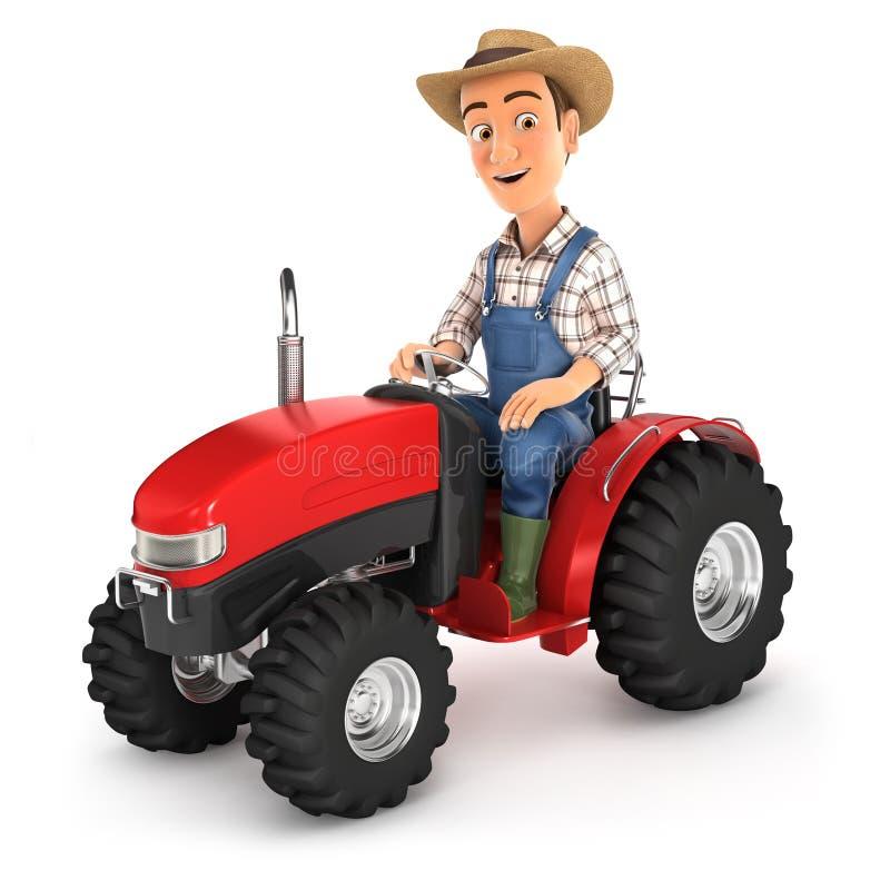 fazendeiro 3d que conduz o trator ilustração stock