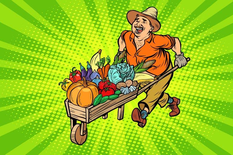 Fazendeiro da colheita do outono, homem com um carrinho de mão de madeira ilustração royalty free