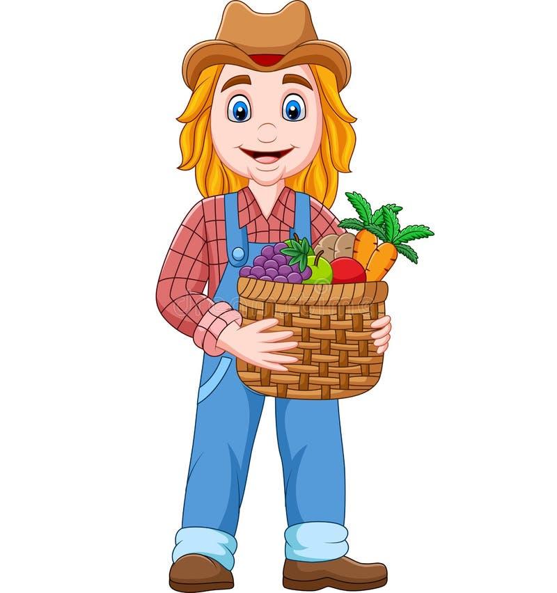 Fazendeiro da menina dos desenhos animados que guarda uma cesta do vegetal e dos frutos ilustração stock