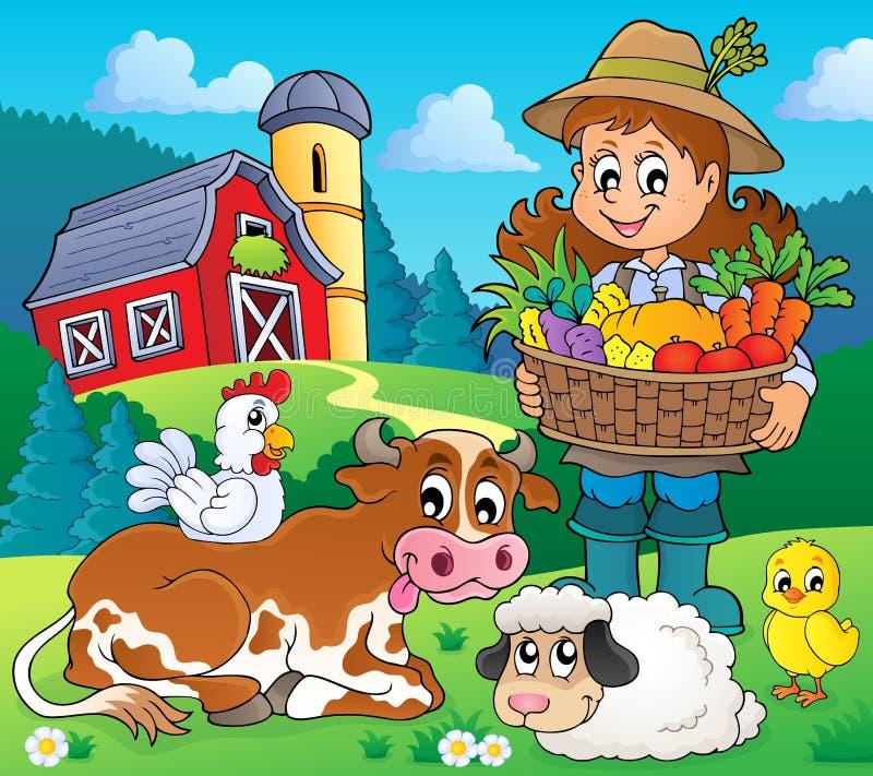 Fazendeiro da mulher com colheita e animais ilustração royalty free