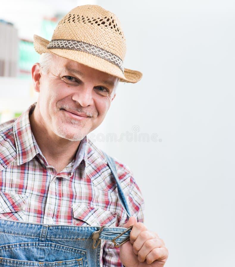 Fazendeiro de sorriso fotografia de stock