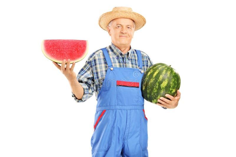 Fazendeiro de sorriso nos brins que guardaram uma melancia e uma fatia imagens de stock royalty free