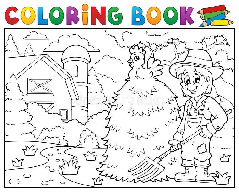 Fazendeiro do livro para colorir perto da casa da quinta 1 ilustração do vetor