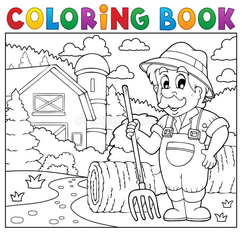 Fazendeiro do livro para colorir perto da casa da quinta 2 ilustração do vetor