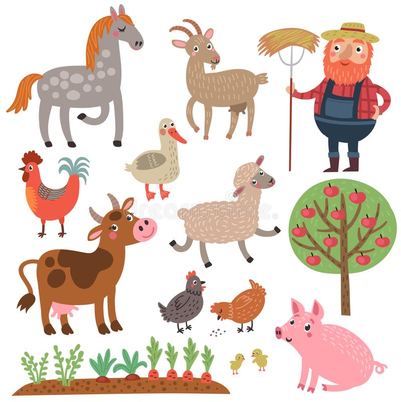 Fazendeiro e animais Exploração agrícola Grupo do vetor de caráteres ilustração stock