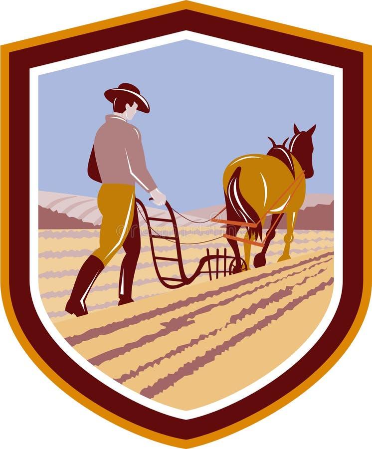 Fazendeiro e cavalo que aram a crista do campo de exploração agrícola retro ilustração stock