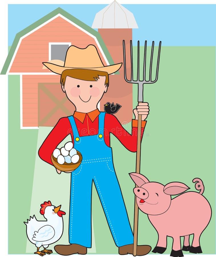 Fazendeiro e porco ilustração stock