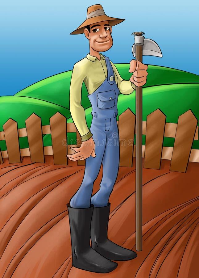 Fazendeiro em um solo plantado ilustração do vetor