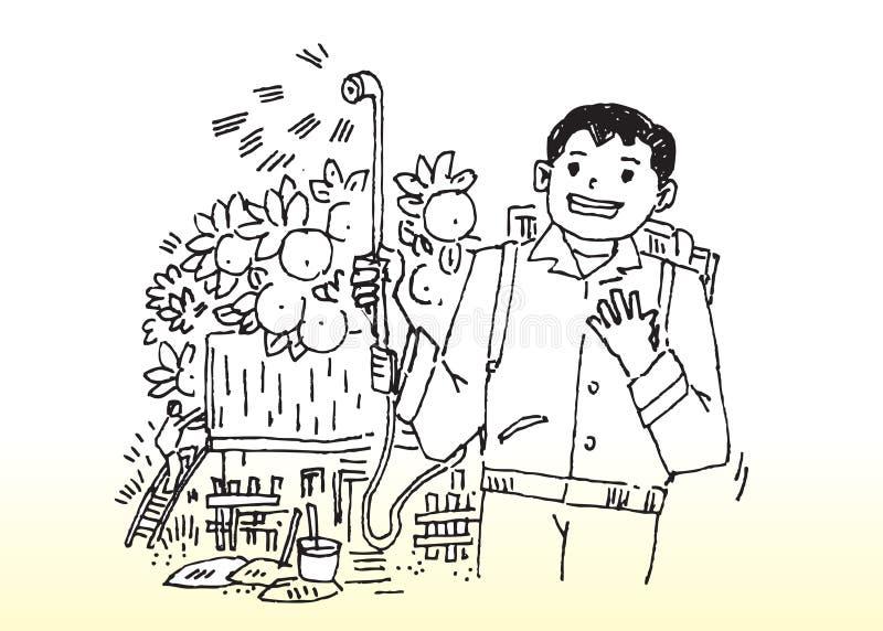 Fazendeiro feliz ilustração do vetor