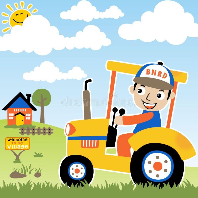Fazendeiro feliz no trator ilustração stock