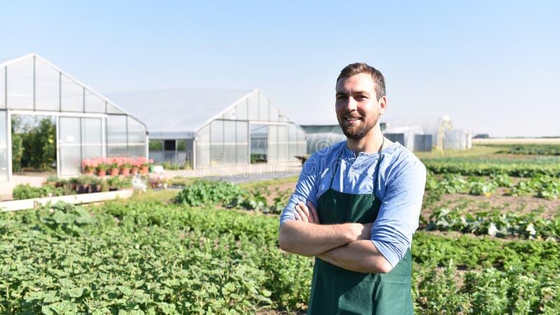 Fazendeiro feliz que cresce e que colhe vegetais na exploração agrícola foto de stock