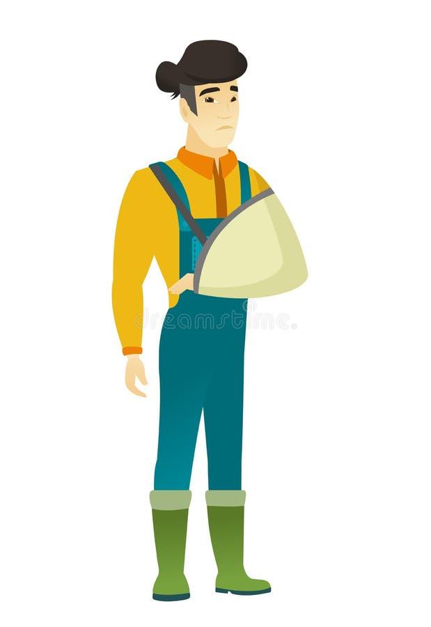 Fazendeiro ferido com braço quebrado ilustração stock