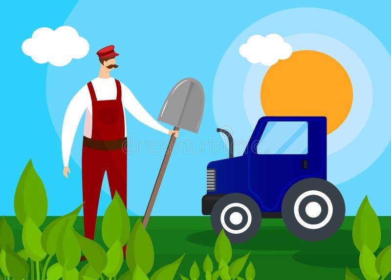 Fazendeiro Growing Agricultural Products no campo ilustração do vetor