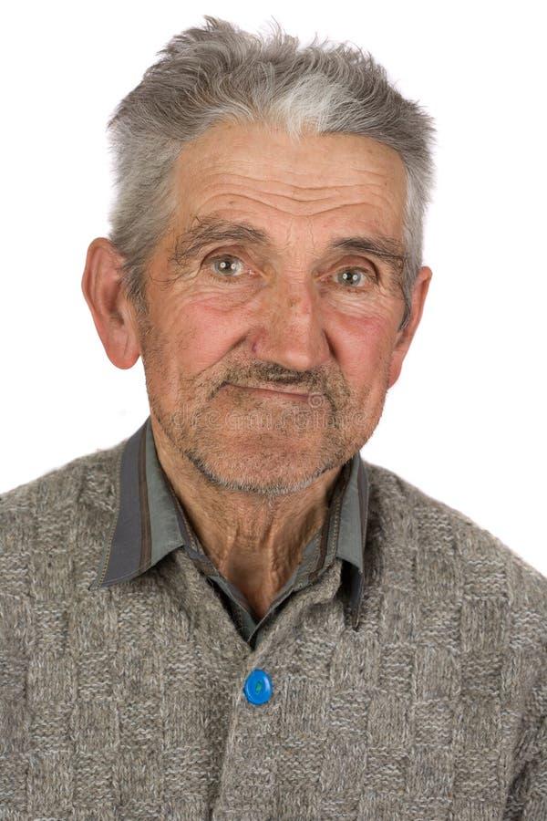 Fazendeiro idoso no branco fotografia de stock royalty free