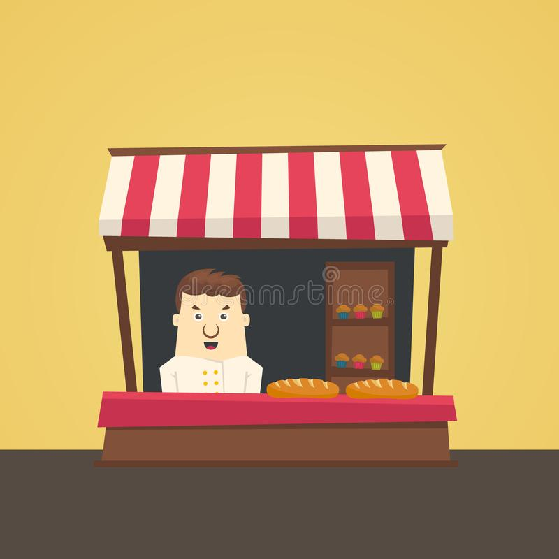 Fazendeiro local do mercado ilustração stock