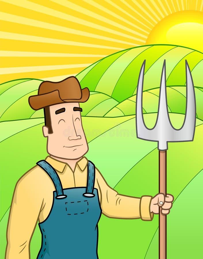 Fazendeiro no campo ilustração stock