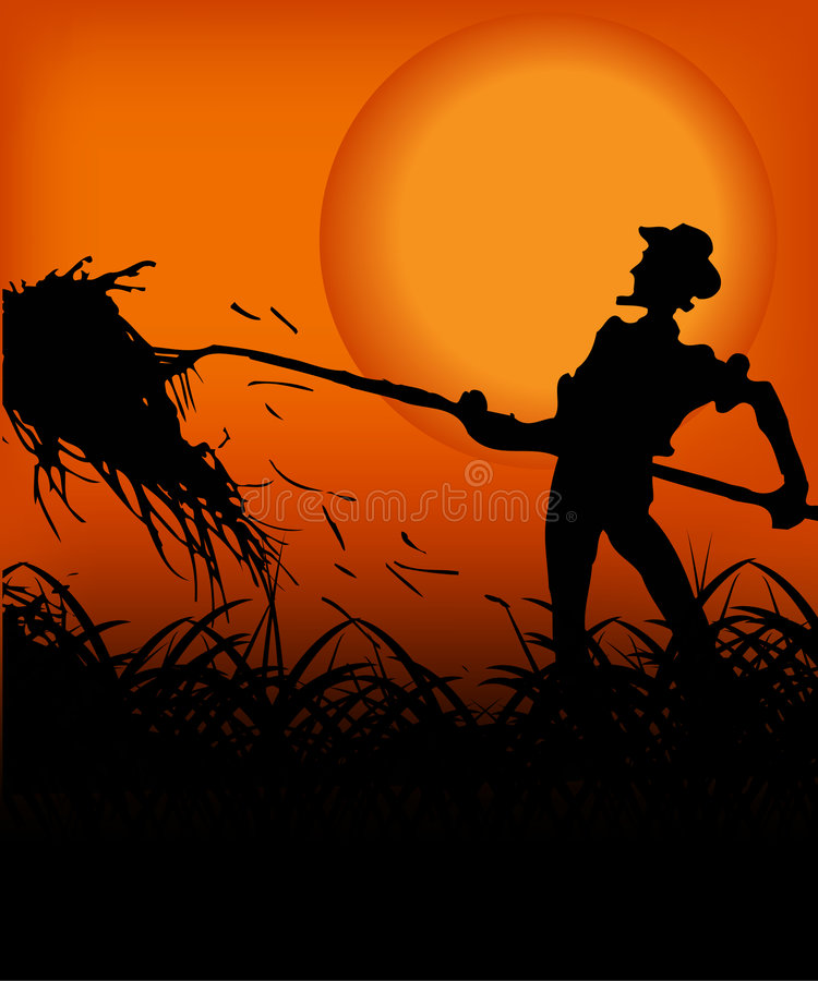 Fazendeiro no por do sol ilustração do vetor