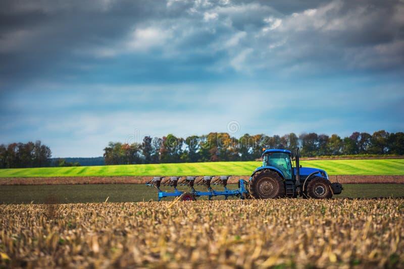 Fazendeiro no trator que prepara a terra com cultivador da sementeira imagens de stock royalty free