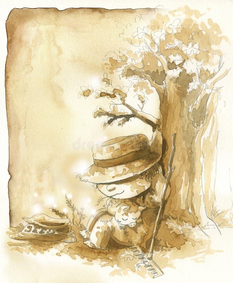 Fazendeiro preguiçoso no outono ilustração royalty free