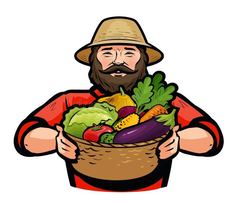 Fazendeiro que guarda uma cesta de vime completamente de legumes frescos Ilustração do vetor ilustração stock