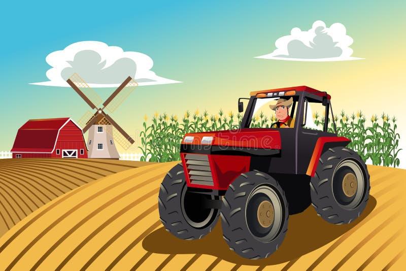 Fazendeiro que monta um trator
