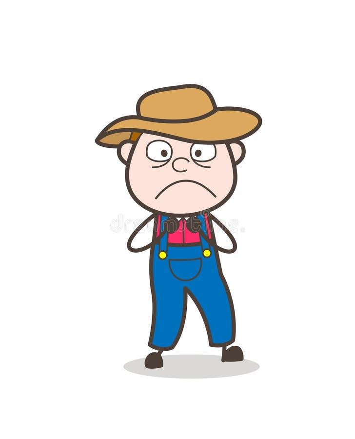 Fazendeiro temível Character Expression dos desenhos animados ilustração do vetor
