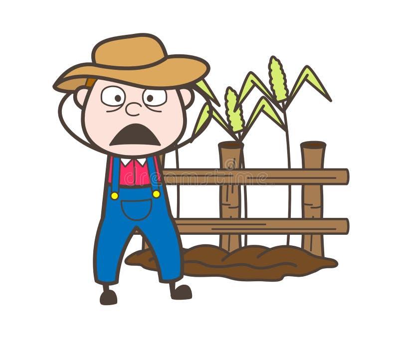 Fazendeiro temível Face Vetora dos desenhos animados ilustração royalty free