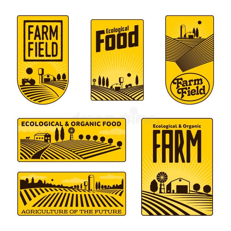 Fazendeiros com crachás dos campos ilustração royalty free