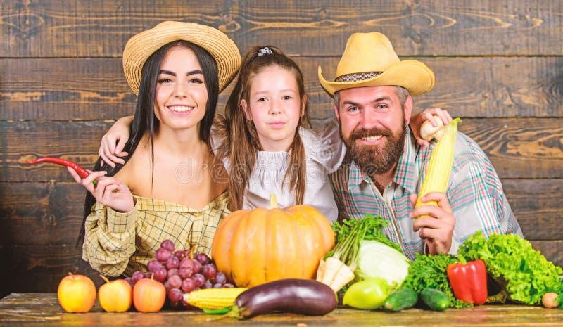 Fazendeiros da fam?lia com fundo de madeira da colheita Fazendeiros r?sticos do estilo da fam?lia no mercado com frutos e hortali fotografia de stock