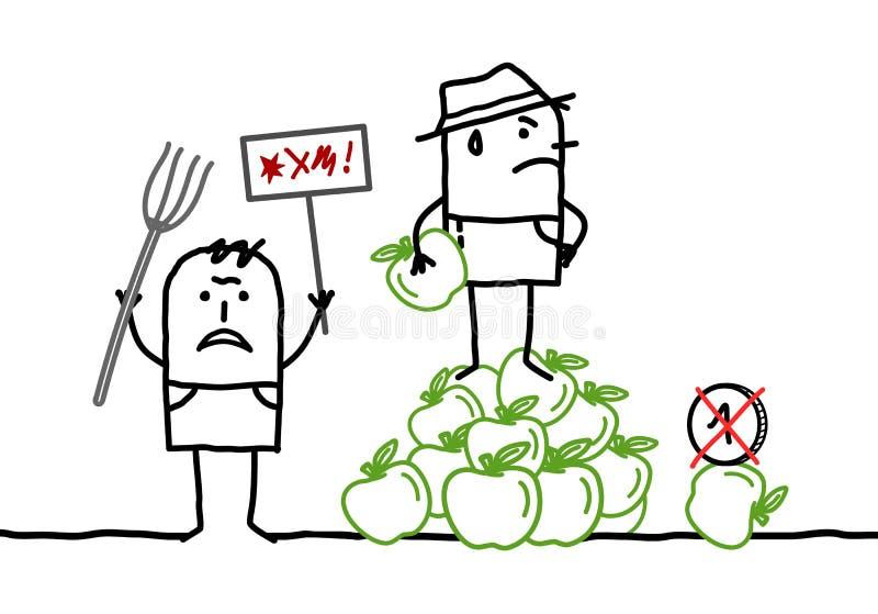Fazendeiros dos desenhos animados que protestam contra a fixação do preço das maçãs ilustração do vetor