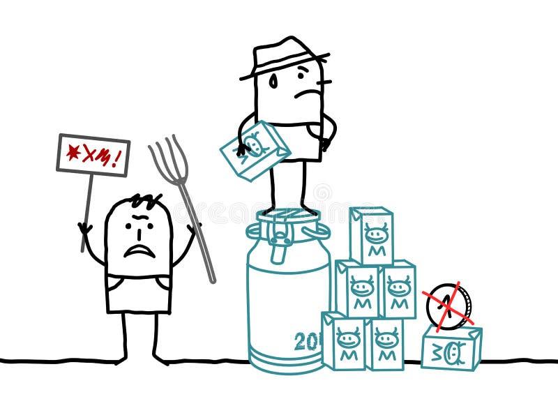 Fazendeiros dos desenhos animados que protestam contra a fixação do preço do leite ilustração royalty free
