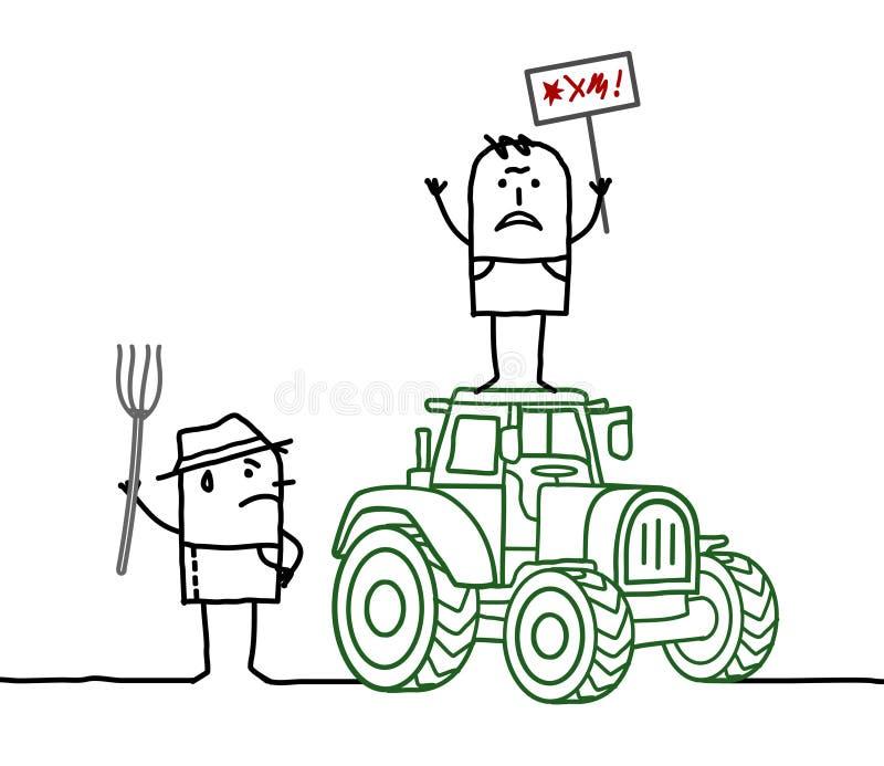 Fazendeiros dos desenhos animados que protestam contra o sistema da agricultura ilustração royalty free