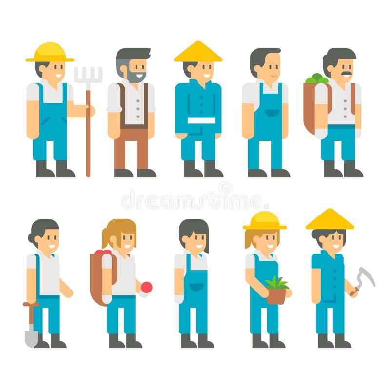 Fazendeiros lisos do projeto ajustados ilustração do vetor