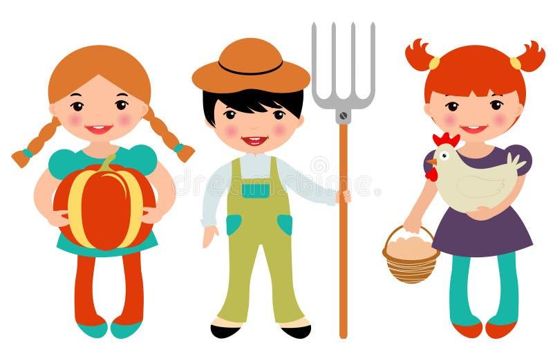 Fazendeiros pequenos ajustados ilustração royalty free
