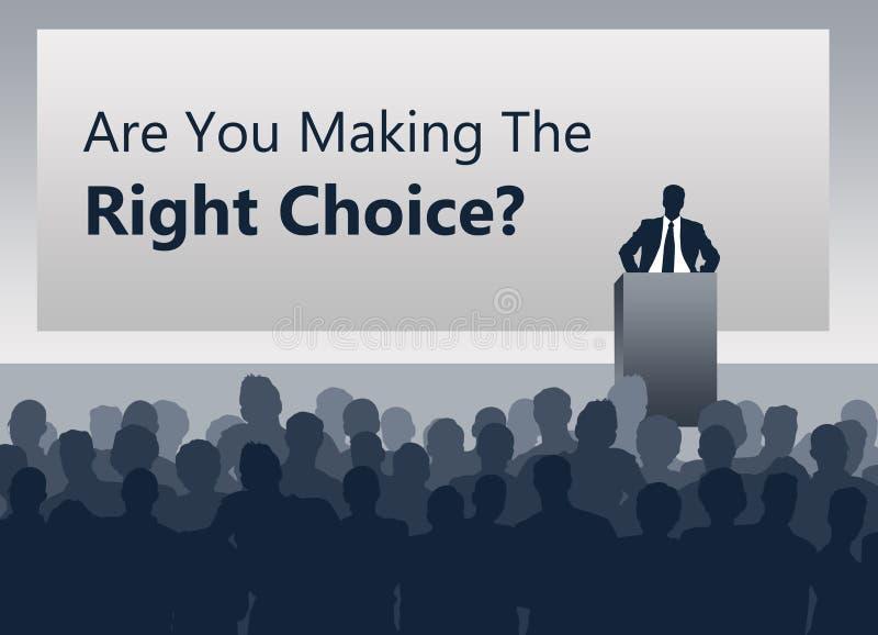 Fazendo a escolha direita ilustração stock