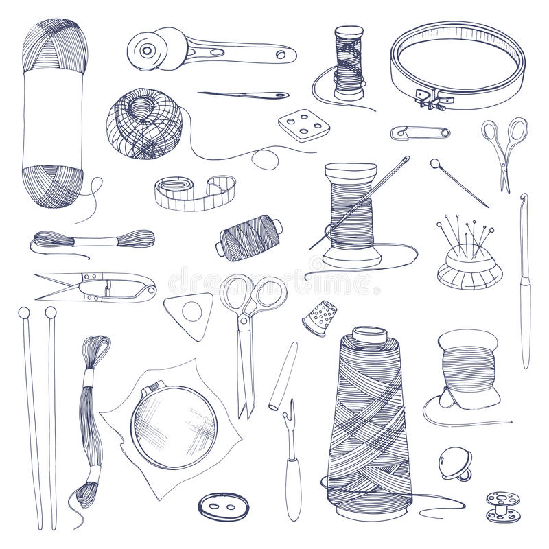 Fazendo malha e costurando acessórios Grupo tirado mão da ilustração do contorno ilustração do vetor