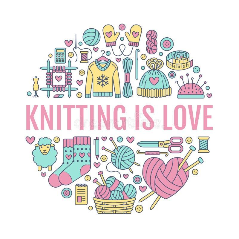Fazendo malha, fazer crochê, ilustração feito à mão da bandeira Vector a linha agulha do ícone, gancho, lenço, peúgas, teste padr ilustração royalty free