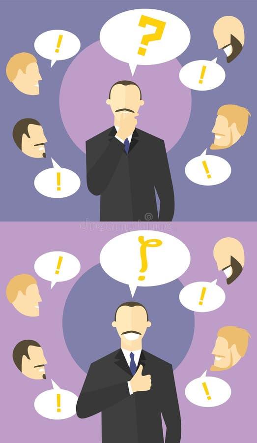 Fazendo o conceito da decisão Dúvidas do chefe Os colegas dão conselhos Homem de negócios incerto, então certo Homem duvidoso e s ilustração royalty free