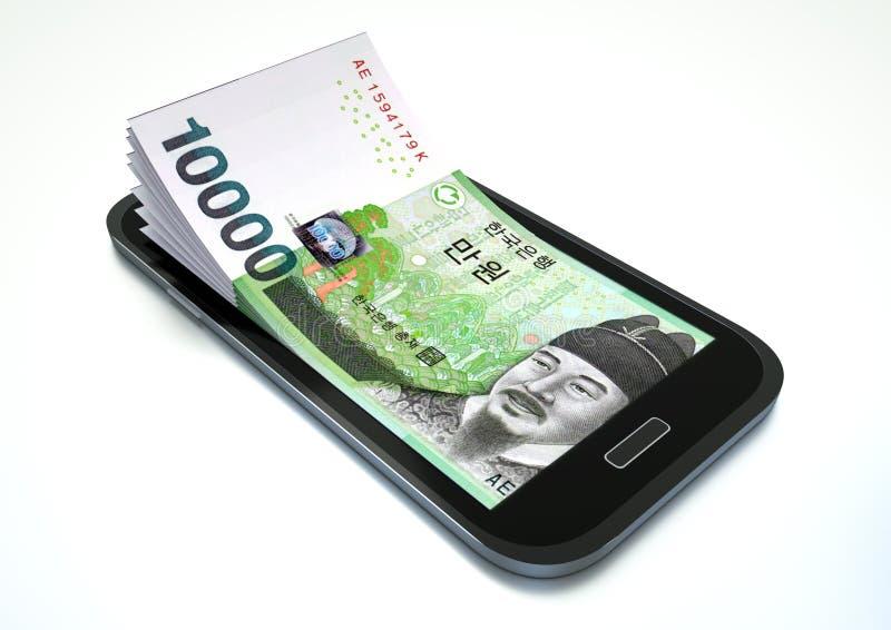Fazendo o dinheiro com comércio eletrónico usando o smartphone ilustração royalty free