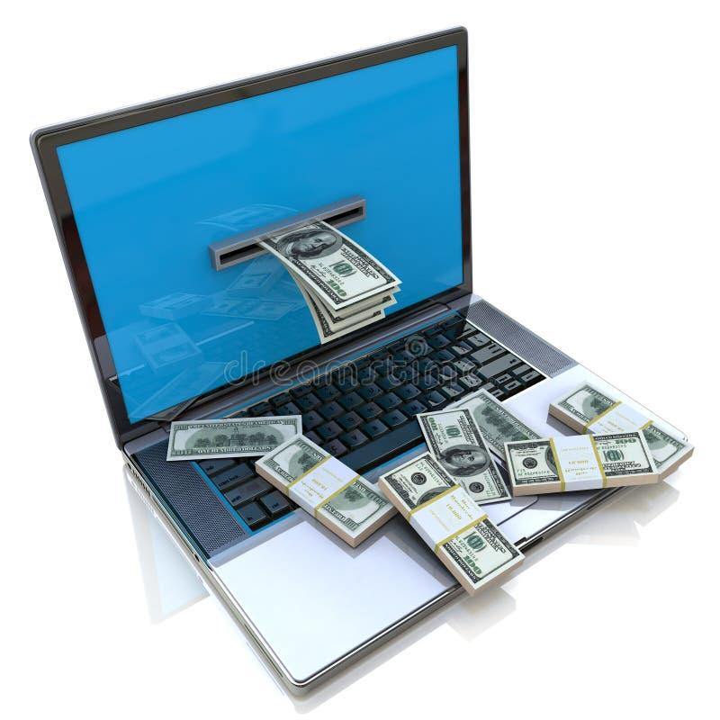 Fazendo o dinheiro em linha - retirando dólares do portátil ilustração stock