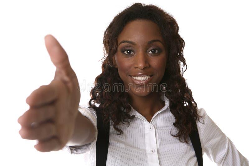 Fazendo o negócio com sorriso fotografia de stock royalty free