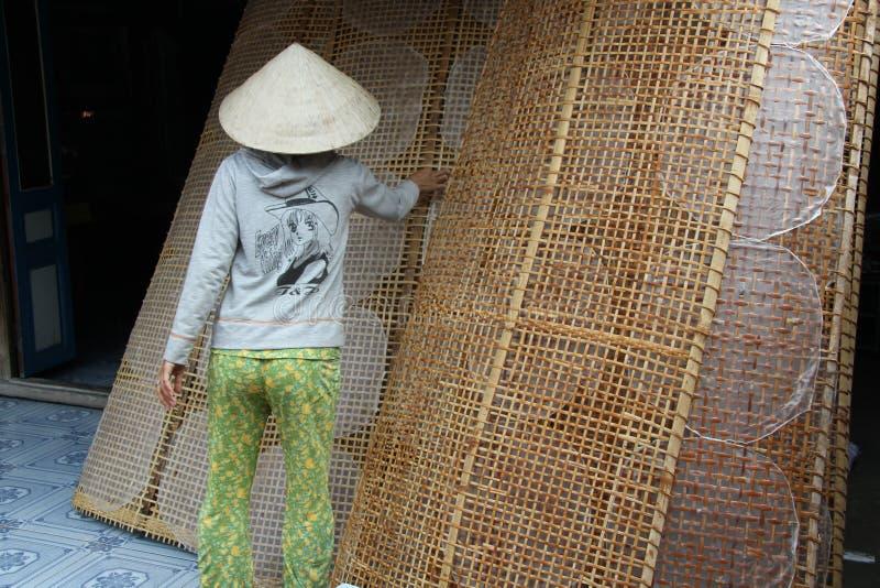 Fazendo o papel de arroz no delta de Mekong fotografia de stock royalty free
