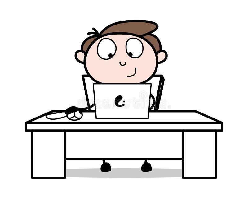 Fazendo o trabalho em linha - ilustração de Employee Cartoon Vetora do homem de negócios do escritório ilustração do vetor