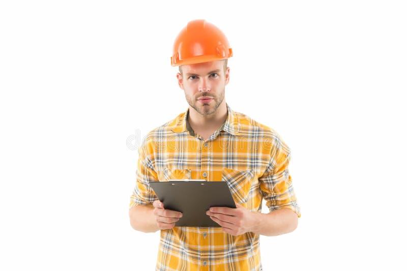 Fazendo seu melhor gerente de construção profissional Designer de construção isolado em branco Desgaste dos engenheiros arquitetô fotos de stock royalty free