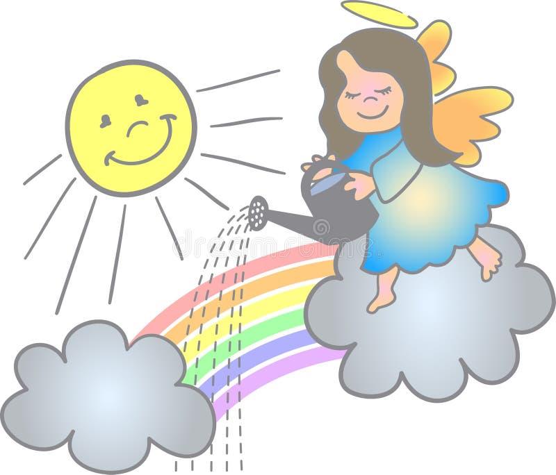 Fazendo um anjo do arco-íris/eps ilustração do vetor