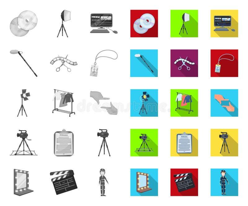Fazendo um filme mono, ícones lisos em coleção ajustada para o projeto Web do estoque do s?mbolo do vetor dos atributos e do equi ilustração royalty free
