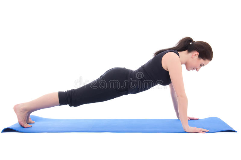 Fazer da jovem mulher levanta o exercício isolado no branco imagem de stock royalty free