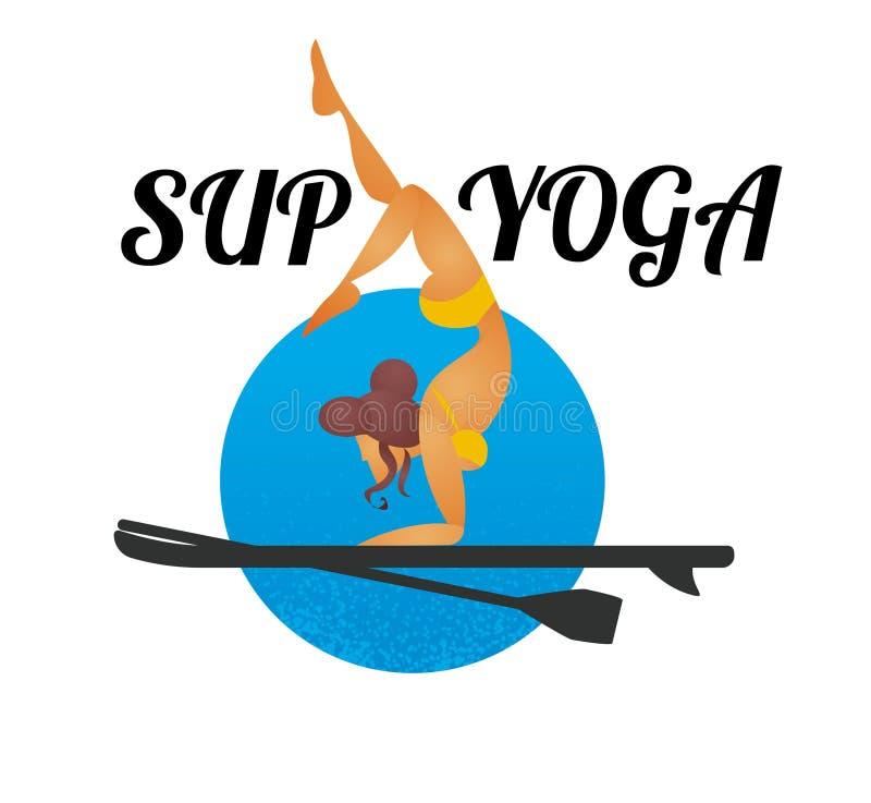 Fazer da mulher está acima de remo a ioga na placa de pá ilustração stock