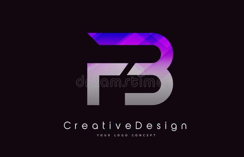 FB Brief Logo Design Purper Textuur Creatief Pictogram Moderne Lette royalty-vrije illustratie