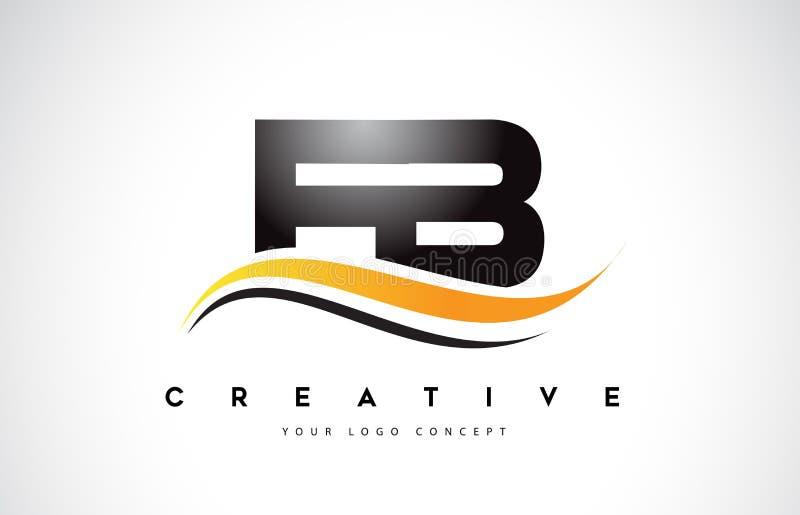 FB F B Swoosh Brief Logo Design met Moderne Gele Swoosh-Kromme vector illustratie